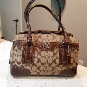 Coach Hampton Brown Signature Satchel purse
